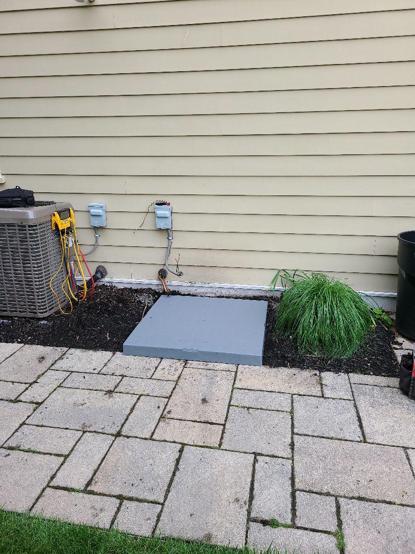 Cranford, NJ - Preperation for the install of the new condensing unit  in Cranford NJ