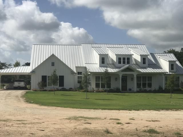 "Navasota, TX - New custom home in Millican.  We installed a 1.5"" Galvalume Standing Seam Metal Roof."