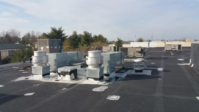 Reynoldsburg, OH - Commercial flat roof inspection for full replacement using a new EPDM rubber roof.  Current roof has leaking at the seams, and new sealant will not solve the issue as it has been resealed multiple times improperly.