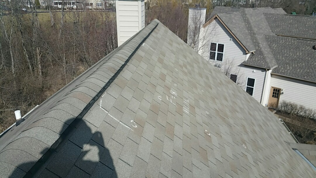 Powell, OH - Insurance adjustment for hail and wind damage. Home will require a full roof replacement, paid for by the insurance.