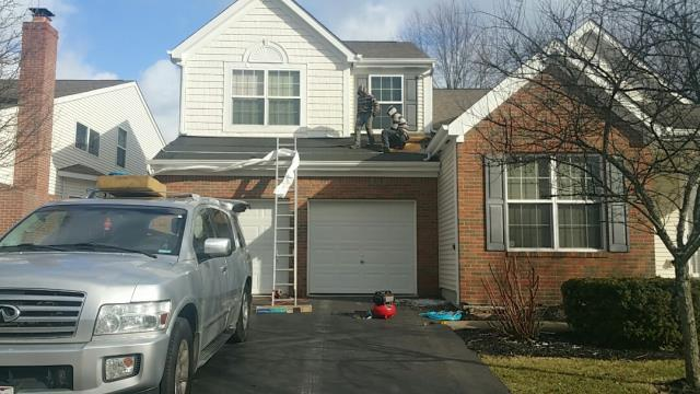 New Albany, OH - Large roof and flashing repair due to deterioration and manufacturing defects to the shingles using new Certainteed Landmark shingles.