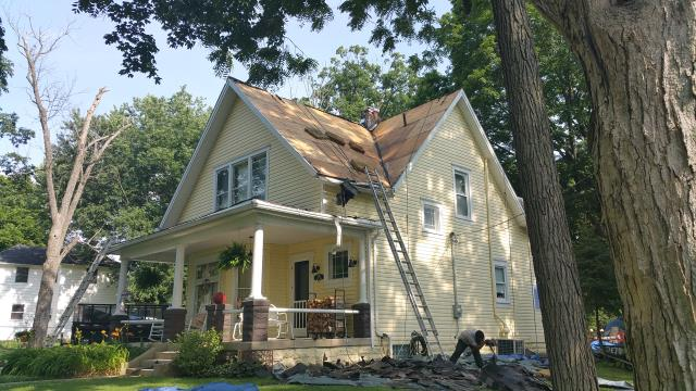 Galloway, OH - Full roof replacement due to hail damage with a new GAF Timberline Lifetime roofing system.