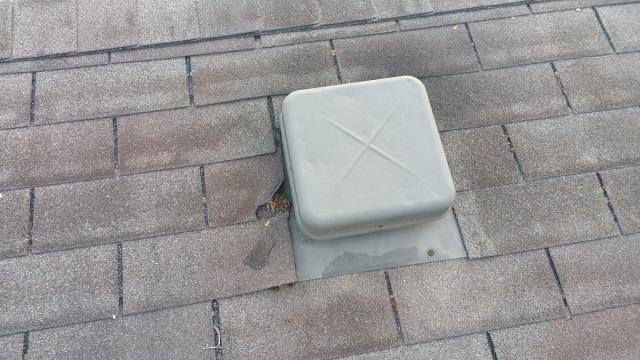 Westerville, OH - Improper vent installation led to leaks into the attic space.  The vents were never nailed correctly, and the nail heads were never sealed over.  New shingles were used to replace any damaged shingles, and the vents were renailed per manufacturer spec and sealed.