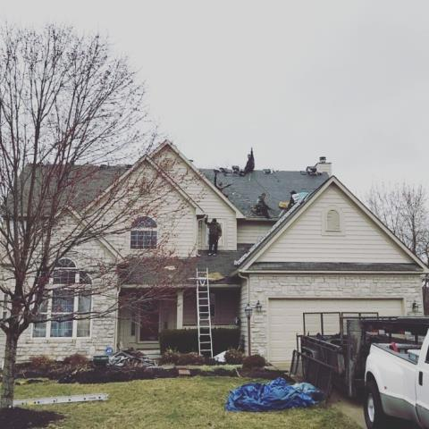 Powell, OH - Full roof replacement in Powell due to wind damage, paid for in full by the insurance company.  A new Lifetime Warranty, IKO Cambridge roofing system is being installed..