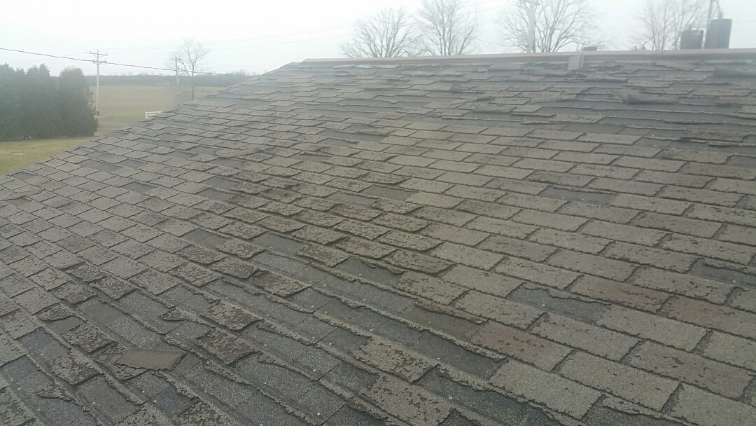 Nova, OH - Wind damage inspection. Full roof replacement required.