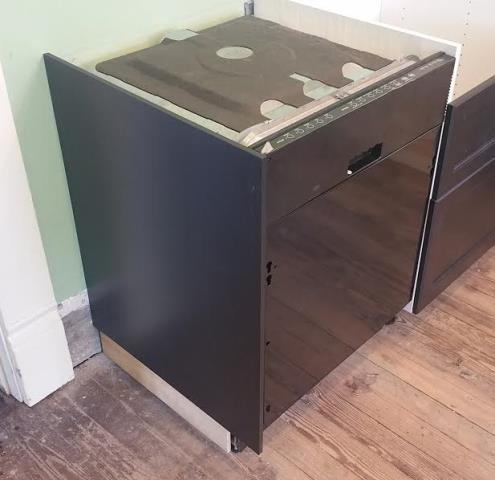 Brice, OH - IKEA cabinet dishwasher mockup before quartz measurement.