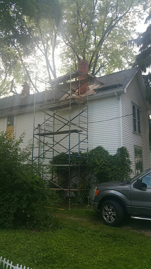 Brice, OH - Chimney tuck pointing ready to begin on this FHA 203k renovation!
