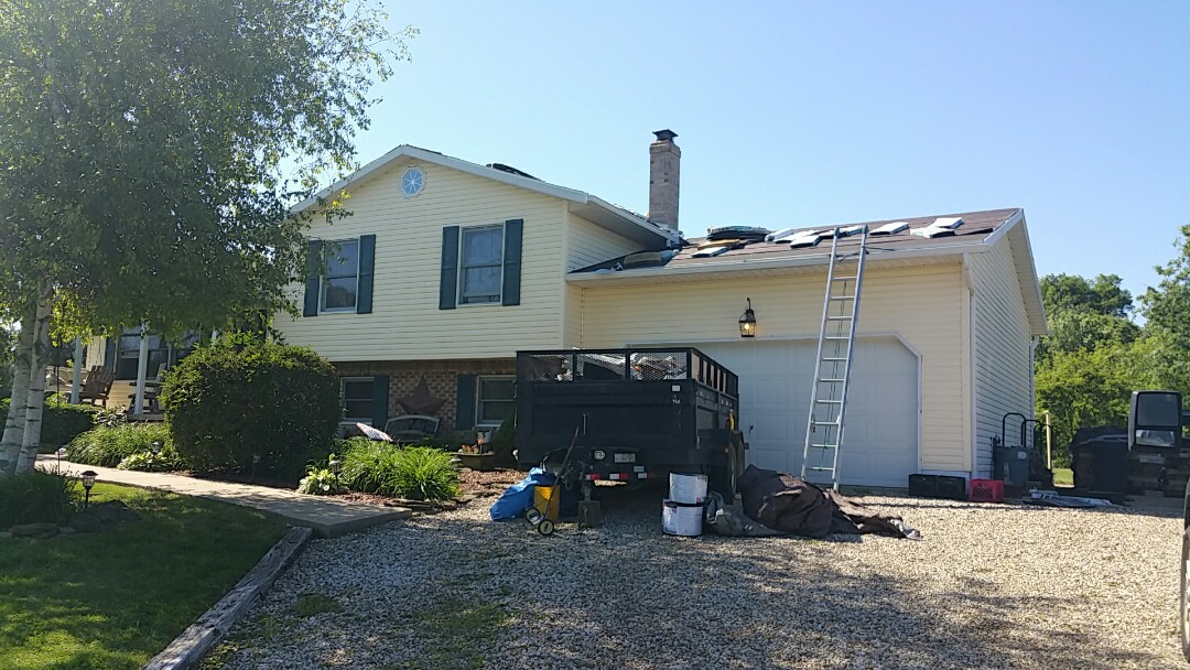 Centerburg, OH - Full roof replacement due to wind damage.