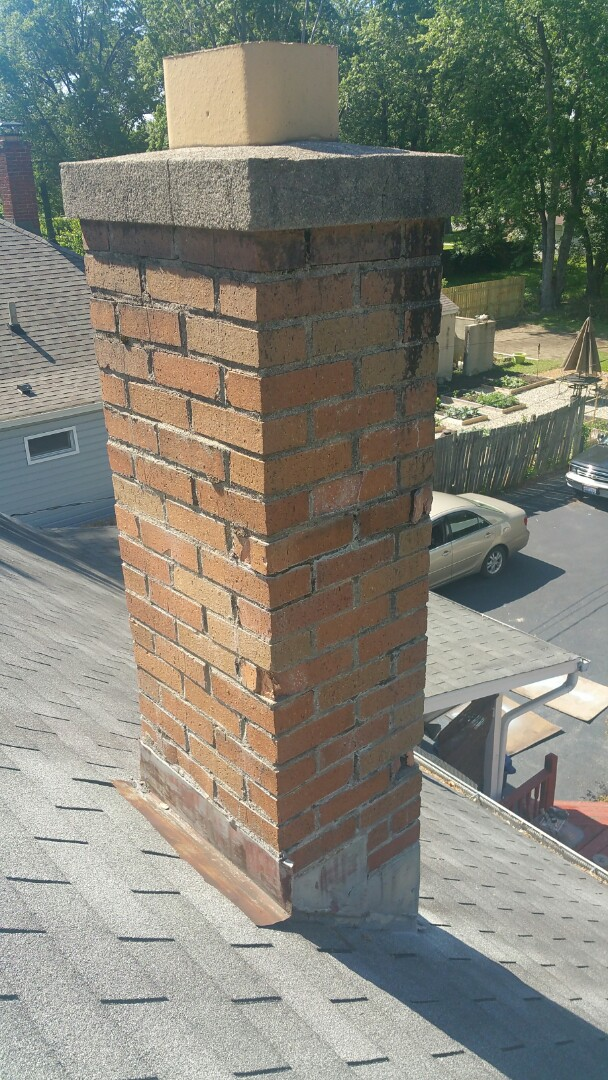 Columbus, OH - Roofing inspection for chimney tuck pointing and flashing.