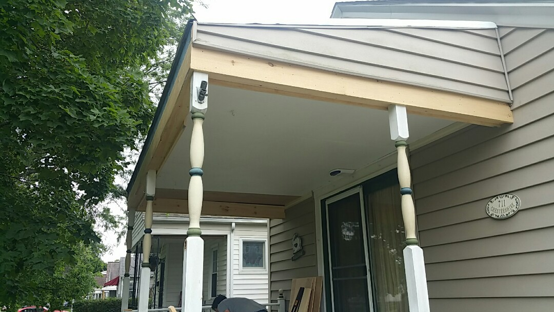 Columbus, OH - Porch repairs and restructuring before a new Matterhorn metal roofing installation!
