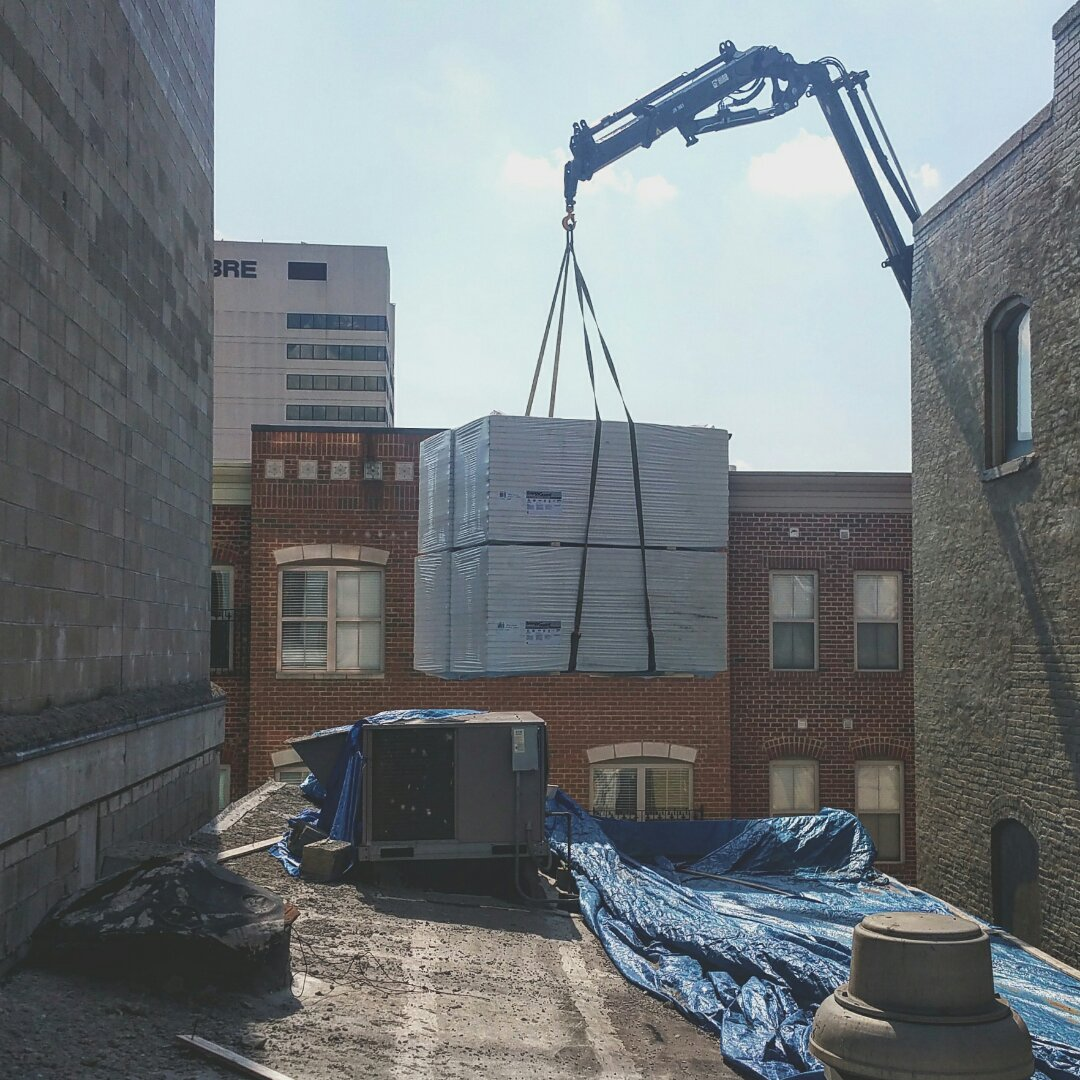 Columbus, OH - Material loading on this pvc roofing application for a new commercial business downtown.