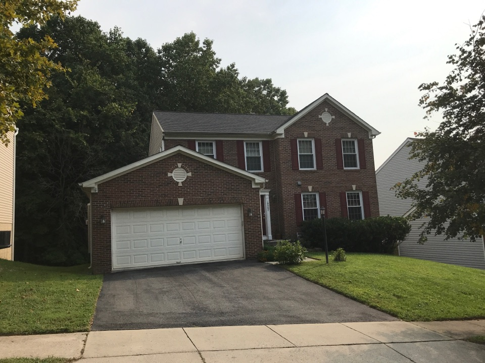 Germantown, MD - Free roof inspection for storm damaged roof. Found shingles blown off and damaged. Gave free quote for roof replacement using Pewter Grey Timberline HD Architectural Shingle.