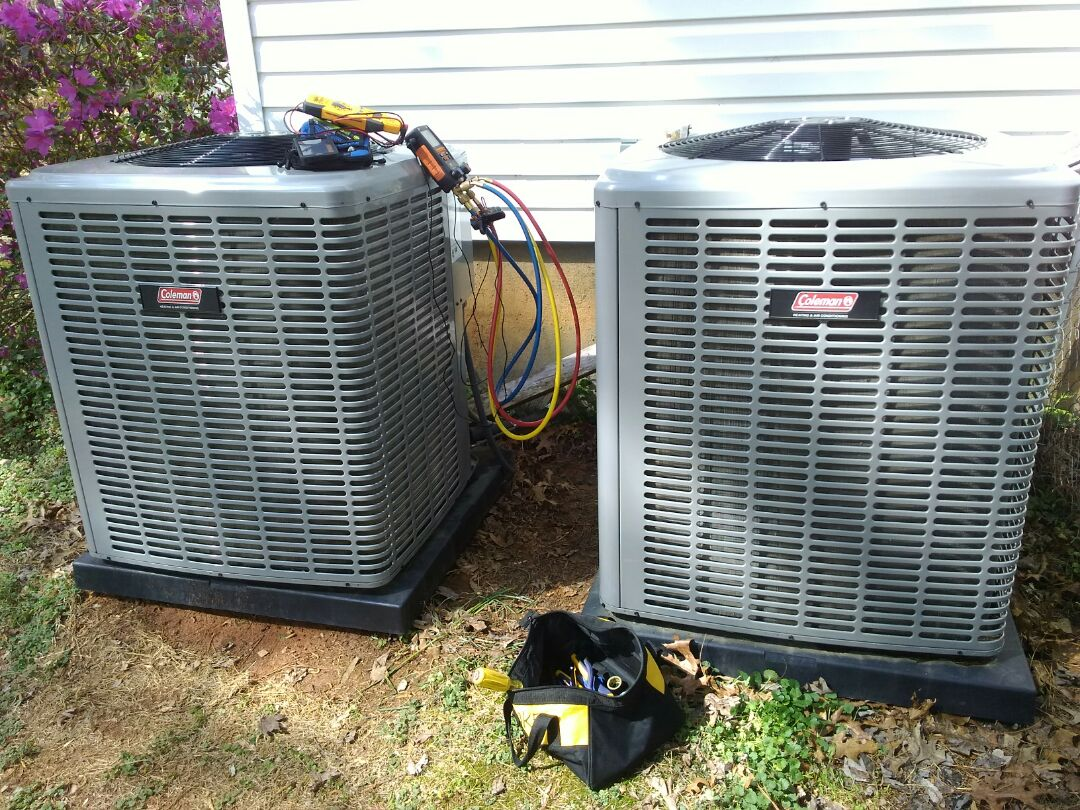 Youngsville, NC - Perform AC service call, inspection, on Coleman split-system heat pump.