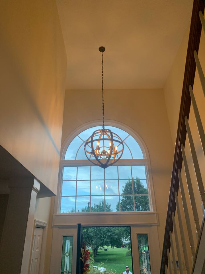 Pasadena, MD - Replaced a chandelier on a 17ft ceiling along with 2 Ceiling Fans and 2 standard Hall Lights in Pasadena, MD.