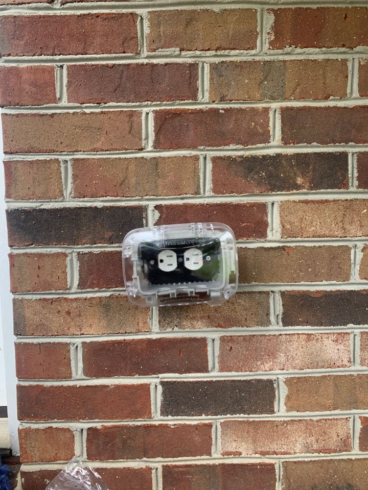 Replaced an outside receptacle with a Weather Rated Receptacle and an In-Use Cover in Linthicum Heights, MD.