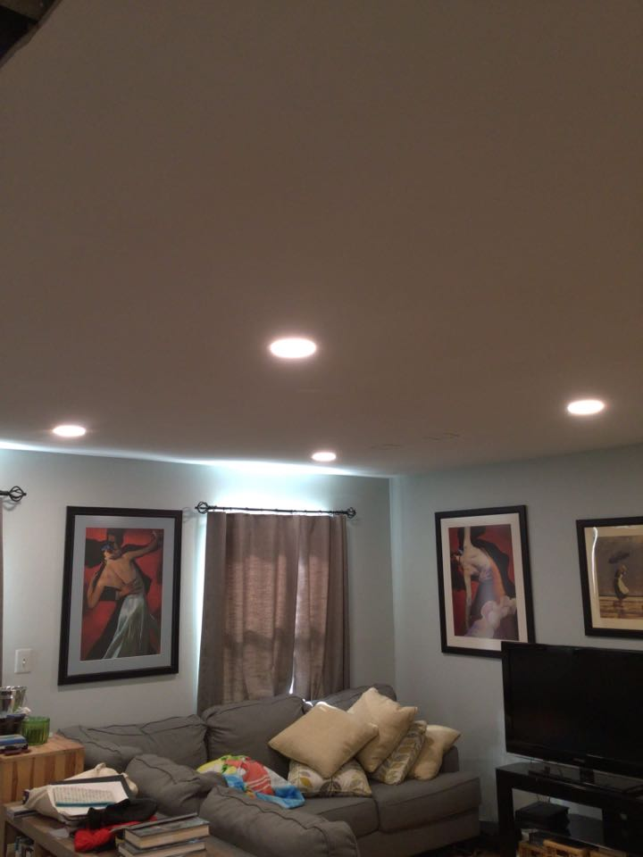 Crofton, MD - Installed Recessed lighting in a living room with no previous lights in the ceiling in Crofton, MD.