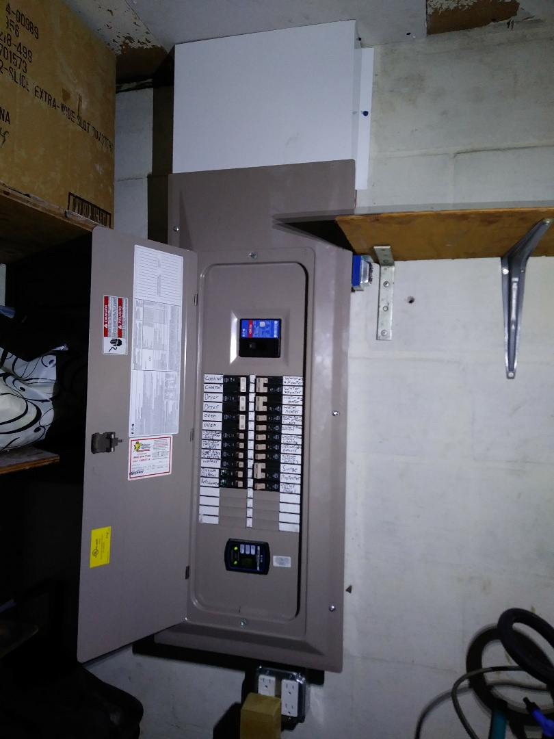 Today we have completed two panel replacements new feeder wire from outdoor panel to indoor panel a dedicated refrigerator circuit a dedicated dishwasher disposal circuit and miscellaneous Electric Service