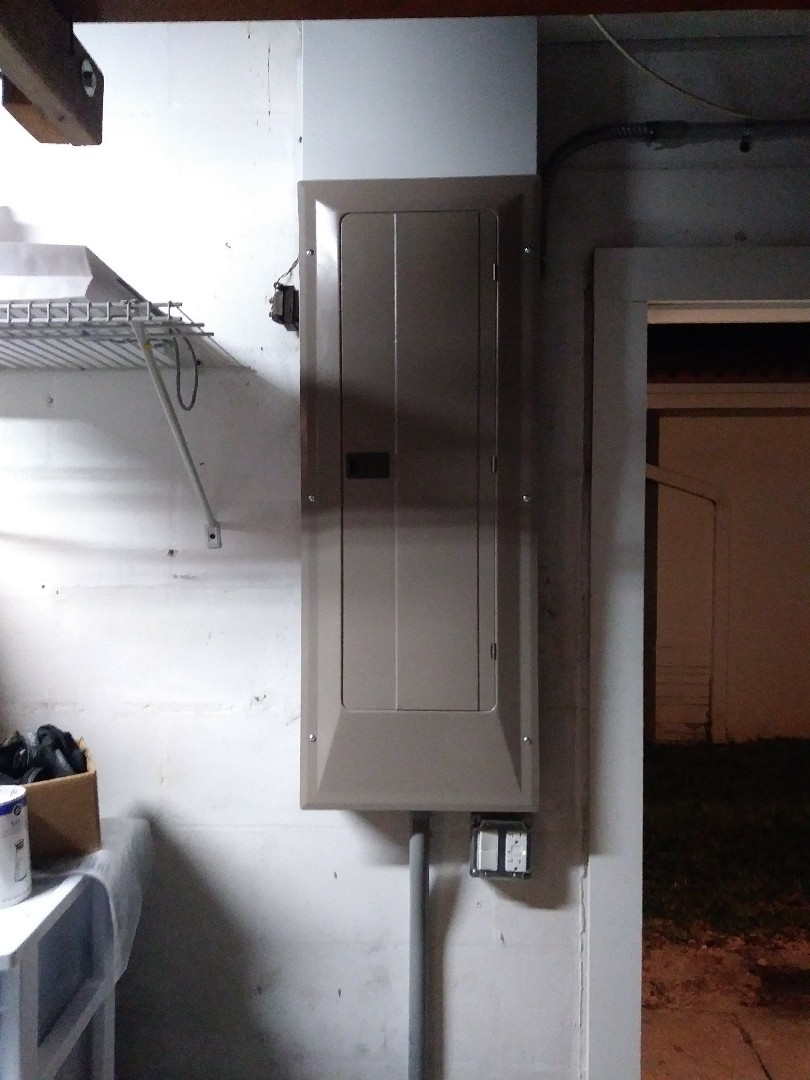 Today I have replaced a 200-amp meter base Riser and feeder wires also we have replaced the indoor panel. As well as ran a new water heater circuit a new Range circuit and a new circuit for a hot tub.