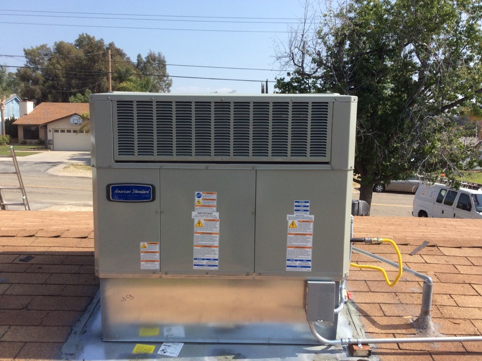 Mentone, CA - Cut in 1 ton 16 seer Fujitsu duct less minispilt in addon sun room and cut in 2 ton 14 seer American Standard package unit as well an R-8 flex duct.