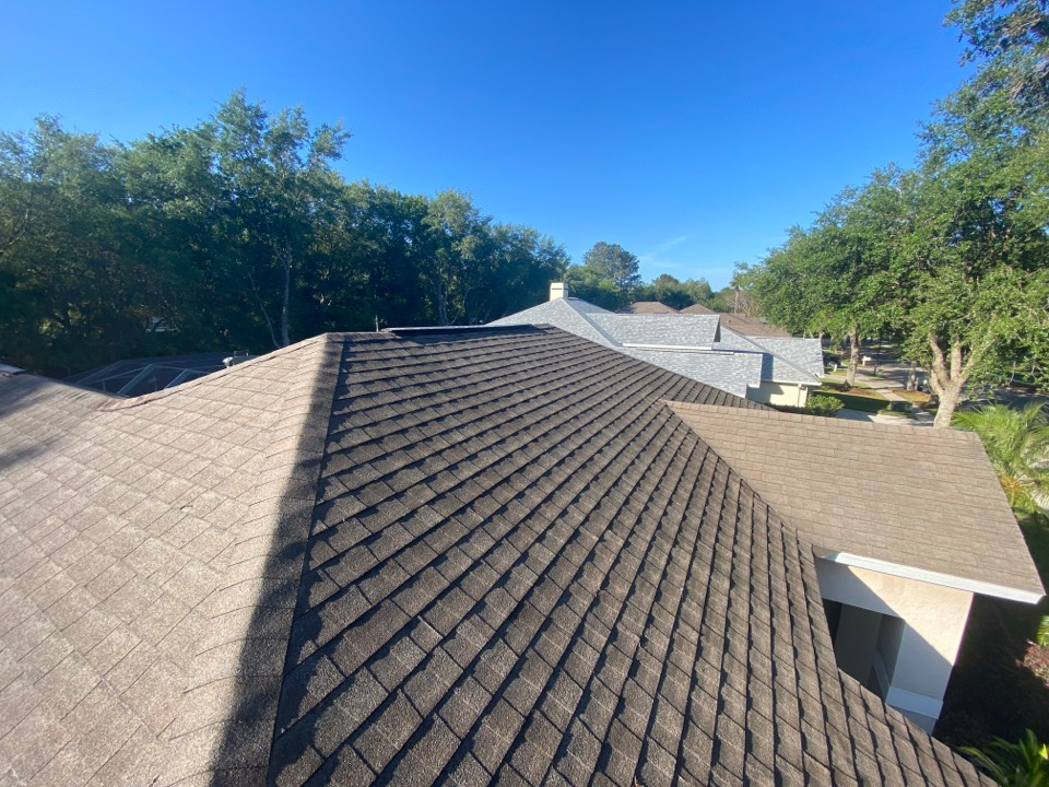 Tampa, FL - In Hunter's Green in Tampa Palms for a full roof replacement. Replace shingle and flat roof. Install new Owens Corning's architectural dimensional shingles and install new Owens Corning's deck seal self Adhered modified bitumen with tapered insulation