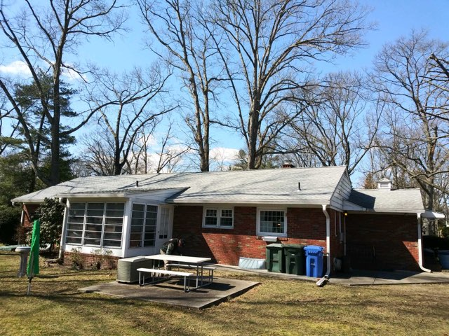 Pitman, NJ - Completed repair from tree damage to the roof, GAF Timberline Fox Hollow Gray roof.