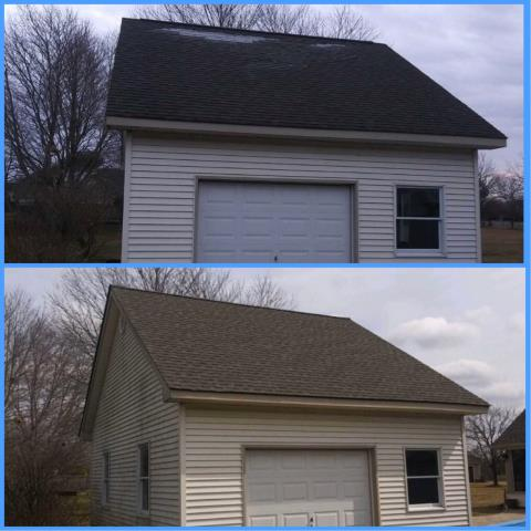 Washington Township, NJ - This wind damage detached garage received a new GAF Timberline Weathered Wood roof.