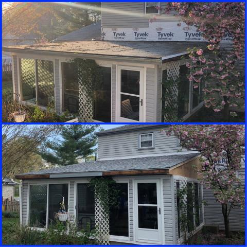 Pitman, NJ - This homeowner had an ongoing issue with the sunroom roof leaking. We were called for a permanent ox to the problem. This roof was built up and shingled using GAF Timberline Fox Hollow Gray shingles.