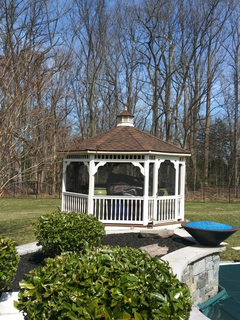 Mullica Hill, NJ - New GAF Timberline roof installed on this backyard gazebo using Hickory shingles.