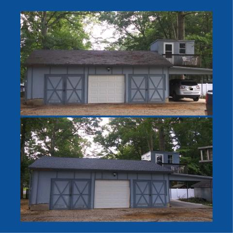 Newfield, NJ - New roof replacement on this shed using GAF Timberline Biscayne Blue shingles.
