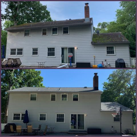 Pitman, NJ - Roof repair to remove satellite dish and new roof replacement using GAF Timberline Slate shingles.