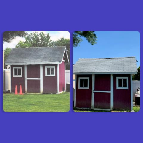 Deptford Township, NJ - Before and after of this shed roof replacement using GAF Royal Sovereign shingles in Silver Lining.