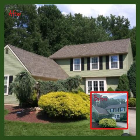 West Deptford, NJ - Completed roof replacement using GAF Timberline HD Weathered Wood shingles.