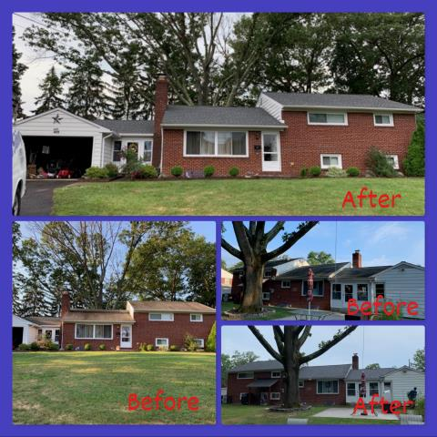 Pitman, NJ - Before and afters of this complete roof installation using GAF Timberline HD Pewter Gray shingles.