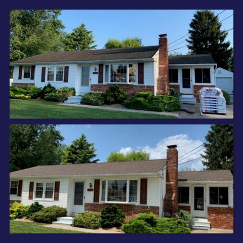 Sicklerville, NJ - Before and after of this roof replacement using GAF Timberline HD Barkwood shingles.