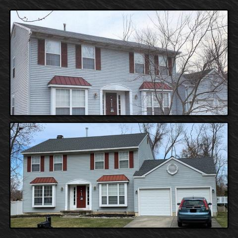 Mantua Township, NJ - Before and after of complete roof installation using GAF Timberline HDZ in Pewter Gray.