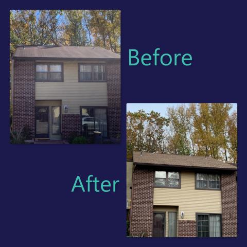 Deptford Township, NJ - Roof replacement on this townhouse using GAF Timberline HD shingles in Shakewood.