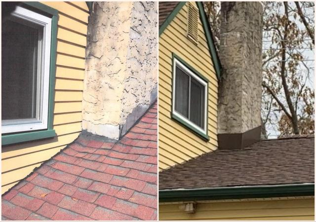 Washington Township, NJ - Partial roof replacement with new chimney flashing. The roof was installed using GAF Timberline Hickory shingles.