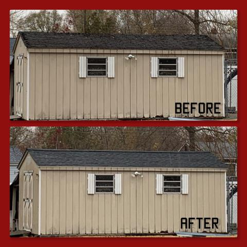 Mantua Township, NJ - We believe no job is too small. This shed roof replacement was completed using GAF Timberline Hickory shingles.