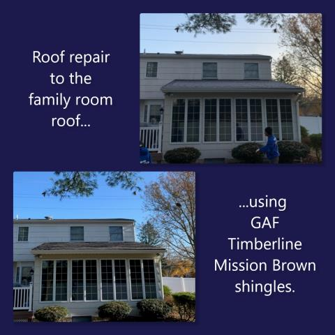 Mickleton, NJ - Roof repair using GAF Timberline Mission Brown shingles.