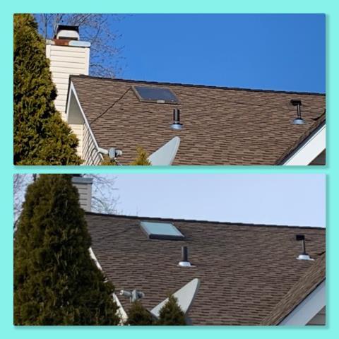 Sicklerville, NJ - Velux skylight replacement completed using GAF Timberline Barkwood shingles.