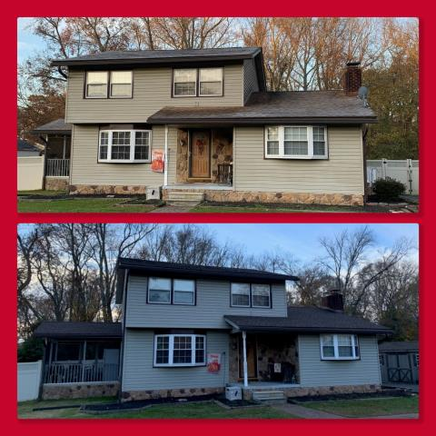 Clayton, NJ - This roof replacement was completed using GAF Timberline shingles in Barkwood.