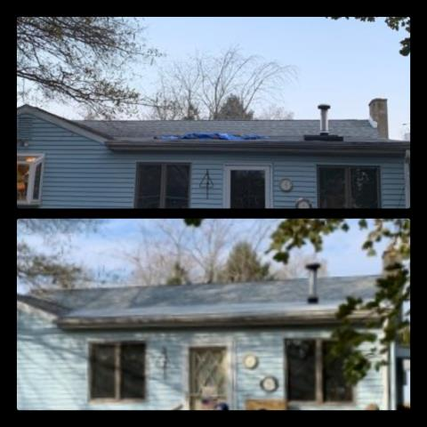Clayton, NJ - Leaking skylights were removed from this low slope roof section. The section was then roofed using GAF Liberty white low-slope.