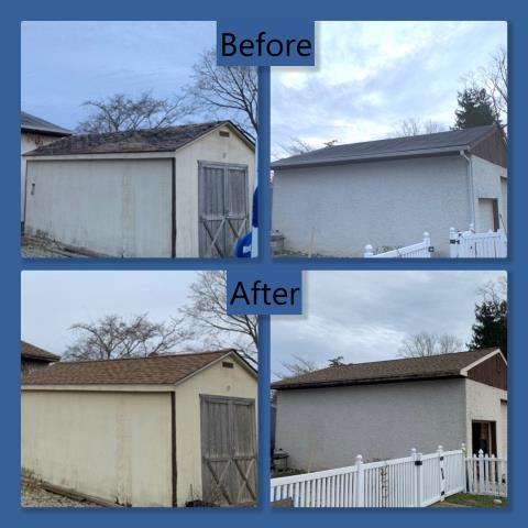Pitman, NJ - Garage and shed roof replacements using GAF Timberline shingles in Shakewood.