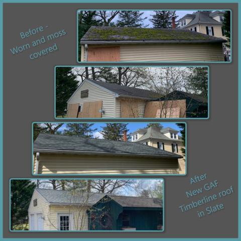 Pitman, NJ - This worn out and moss covered detached garage was in need of a new roof. We installed a new GAF Timberline roof using Slate colored shingles.
