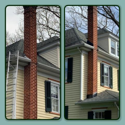 Pitman, NJ - This brick chimney needed new flashing on the main roof and porch roof areas. We installed new black chimney flashing. #kmrsllc #roofrepair #pitmannj