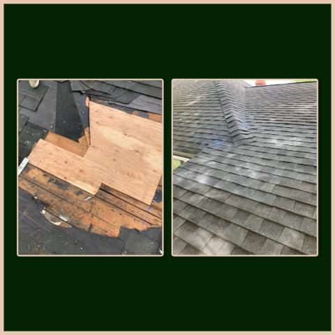 National Park, NJ - This roof was leaking due to an issue with the plywood in the area. We properly installed the new plywood and re-shingled the area with GAF Timberline Charcoal shingles. #kmrsllc #roofrepair #GAF #nationalparknj