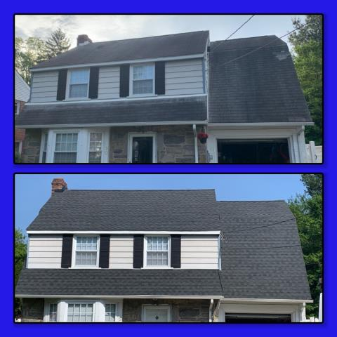 Woodbury, NJ - Before and after of complete roof replacement using GAF Timberline HDZ Charcoal shingles.