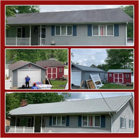 Woodbury, NJ - House and shed roofs replacement using GAF Timberline HDZ Fox Hollow Gray shingles.