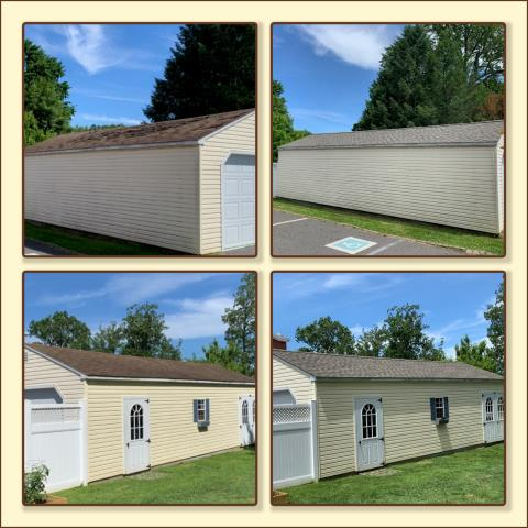 Pitman, NJ - Shed roof replacement using GAF Timberline HDZ shingles in Weathered Wood Blend.