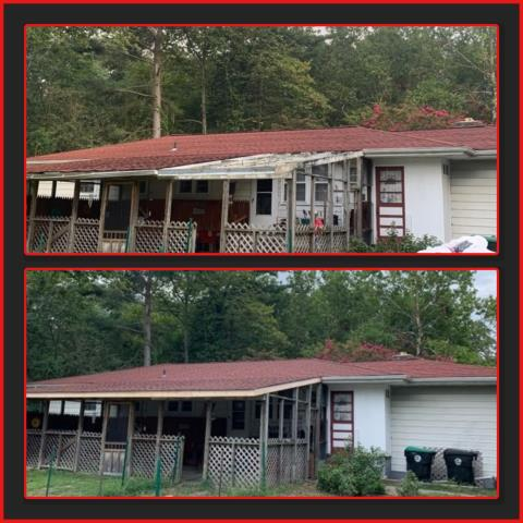 Waterford, NJ - Before and after of this rear porch roof repair using GAF Timberline HDZ Patriot Red shingles.